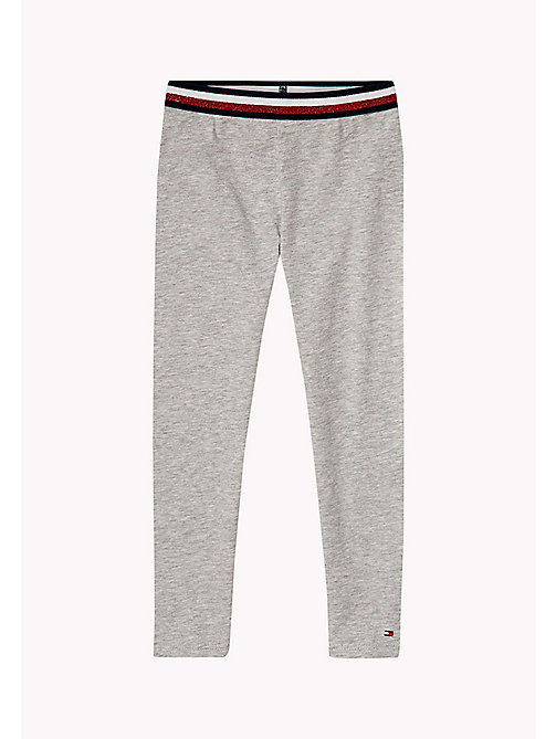 TOMMY HILFIGER Leggings in cotone stretch - LIGHT GREY HTR - TOMMY HILFIGER Pantaloni & Gonne - immagine principale