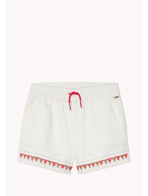 TOMMY HILFIGER Bead and Embroidered Sun Shorts - BRIGHT WHITE - TOMMY HILFIGER Trousers, Shorts & Skirts - main image