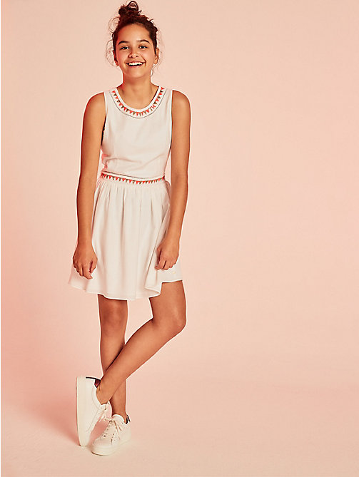 TOMMY HILFIGER Bead and Embroidered Sun Dress - BRIGHT WHITE - TOMMY HILFIGER Kids - main image