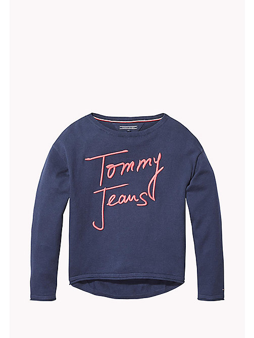 TOMMY HILFIGER Logo Jumper - BLACK IRIS - TOMMY HILFIGER Girls - main image