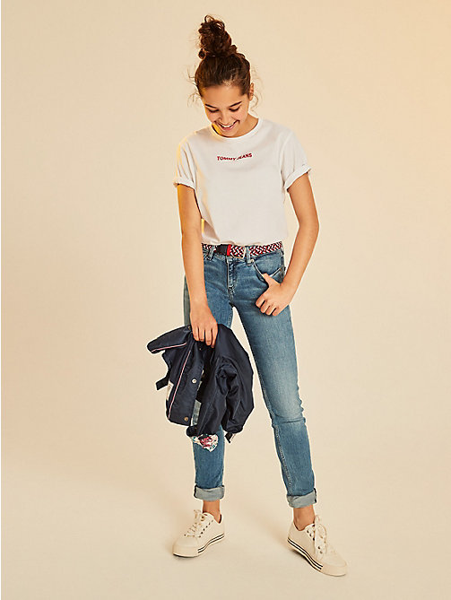 TOMMY HILFIGER Logo Boyfriend T-Shirt - BRIGHT WHITE - TOMMY HILFIGER Girls - main image