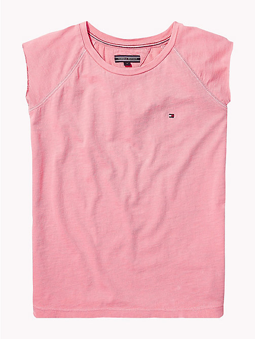 TOMMY HILFIGER Pure Cotton Sleeveless Neon Top - NEON PINK - TOMMY HILFIGER Girls - detail image 1