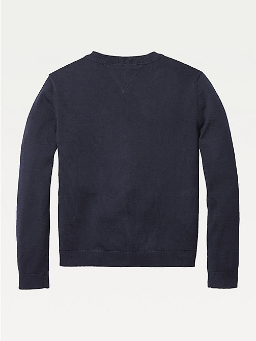 TOMMY HILFIGER Organic Cotton Knitted Cardigan - SKY CAPTAIN - TOMMY HILFIGER Knitwear - detail image 1