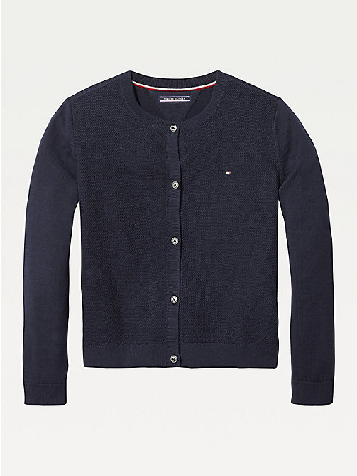 TOMMY HILFIGER Organic Cotton Knitted Cardigan - SKY CAPTAIN - TOMMY HILFIGER Knitwear - main image