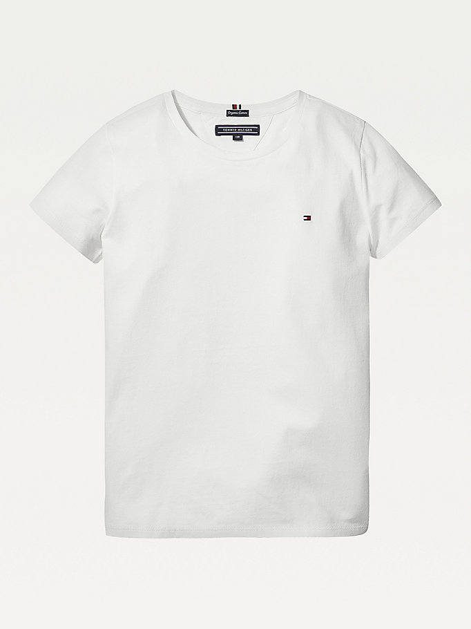 t-shirt in cotone biologico bianco da girls tommy hilfiger