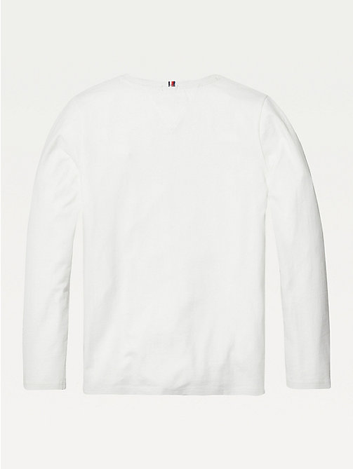 TOMMY HILFIGER Organic Cotton Long Sleeve Top - BRIGHT WHITE - TOMMY HILFIGER Tops & T-shirts - detail image 1