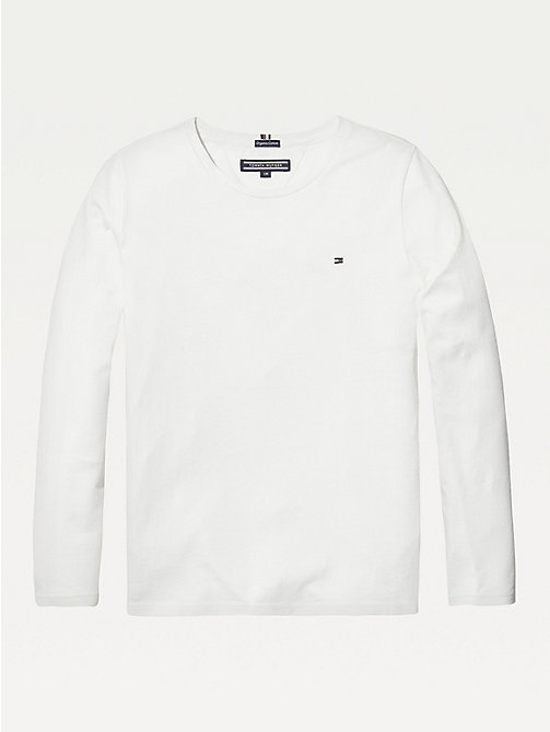 TOMMY HILFIGER Organic Cotton Long Sleeve Top - BRIGHT WHITE - TOMMY HILFIGER Tops & T-shirts - main image