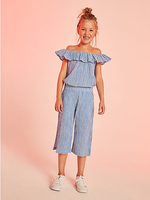 TOMMY HILFIGER Crepe Stripe Trousers - STRONG BLUE/STRONG BLUE - TOMMY HILFIGER Kids - main image