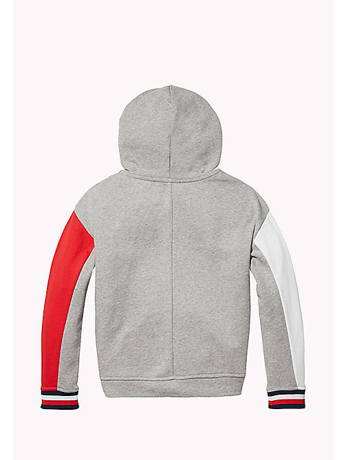 TOMMY HILFIGER KIDS SPORTS BEKKI CLR BLOCK HOODIE - LIGHT GREY HTR / MULTI - TOMMY HILFIGER Sweatshirts & Hoodies - detail image 1