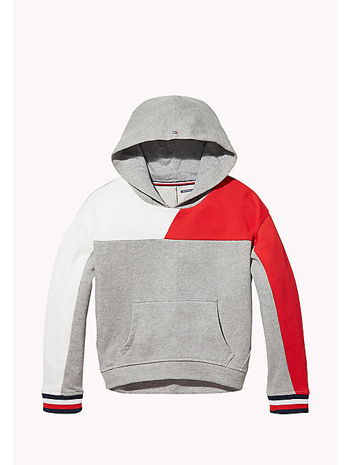 TOMMY HILFIGER KIDS SPORTS BEKKI CLR BLOCK HOODIE - LIGHT GREY HTR / MULTI - TOMMY HILFIGER Sweatshirts & Hoodies - main image
