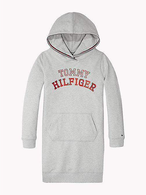 TOMMY HILFIGER Logo Hoody Dress - GREY HEATHER - TOMMY HILFIGER Girls - main image