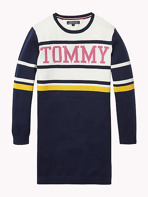 TOMMY HILFIGER Stripe Print Cotton Dress - BLACK IRIS / MULTI - TOMMY HILFIGER Girls - main image