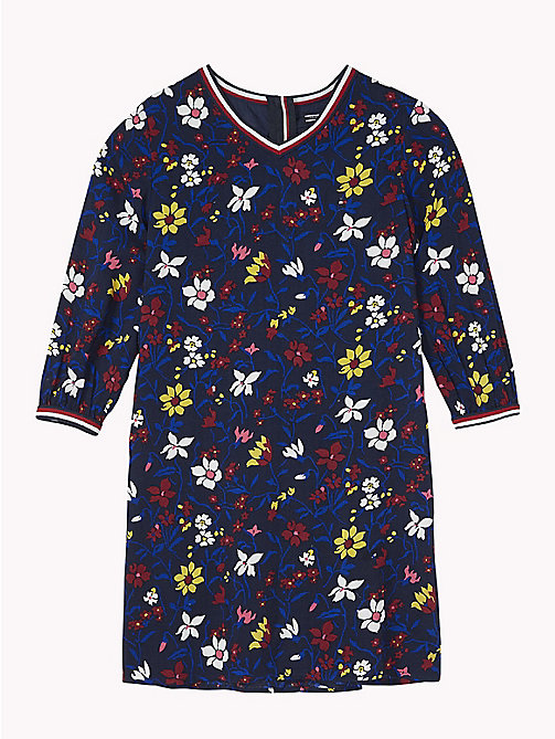 TOMMY HILFIGER Floral Print Dress - BLACK IRIS / MULTI - TOMMY HILFIGER Girls - main image