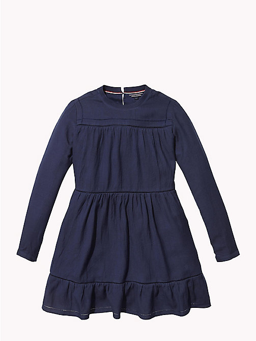 TOMMY HILFIGER Frill Hem Dress - BLACK IRIS - TOMMY HILFIGER Girls - main image