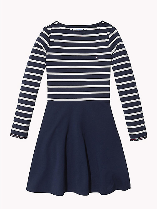 TOMMY HILFIGER Breton Stripe Dress - BLACK IRIS / SNOW WHITE - TOMMY HILFIGER Girls - main image