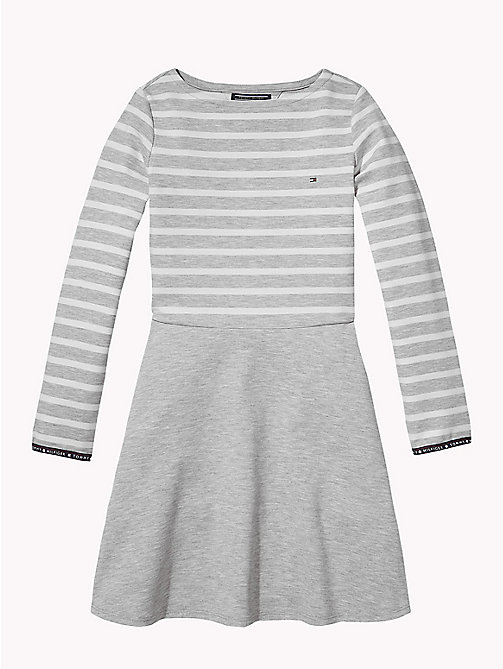 TOMMY HILFIGER Breton Stripe Dress - GREY HEATHER/SNOW WHITE - TOMMY HILFIGER Girls - main image