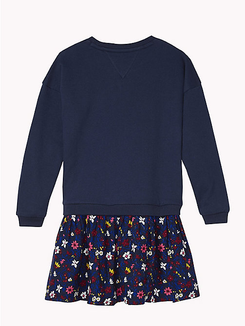 TOMMY HILFIGER Sweatshirt And Floral Skirt Dress - BLACK IRIS / MULTI - TOMMY HILFIGER Girls - detail image 1