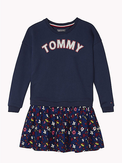 TOMMY HILFIGER Sweatshirt And Floral Skirt Dress - BLACK IRIS / MULTI - TOMMY HILFIGER Girls - main image