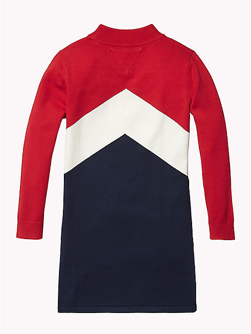 TOMMY HILFIGER Colour-Blocked Jumper Dress - TRUE RED/MULTI - TOMMY HILFIGER Girls - detail image 1