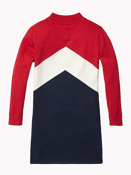 TOMMY HILFIGER Colour-Blocked Jumper Dress - TRUE RED / MULTI - TOMMY HILFIGER Dresses - detail image 1