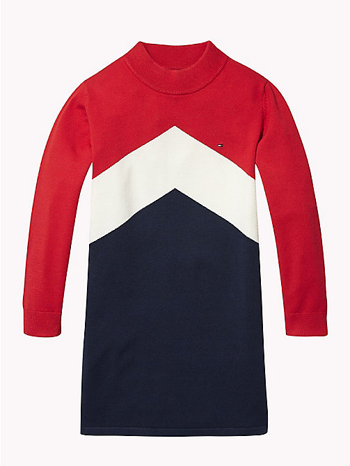 TOMMY HILFIGER Colour-Blocked Jumper Dress - TRUE RED / MULTI - TOMMY HILFIGER Girls - main image