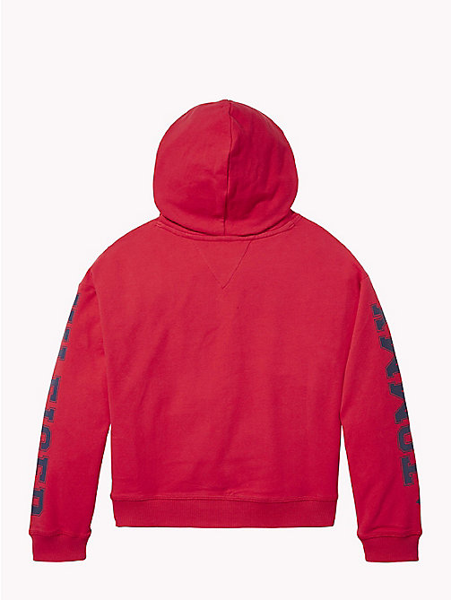 TOMMY HILFIGER Logo Sleeve Hoody - TRUE RED - TOMMY HILFIGER Sweatshirts & Hoodies - detail image 1