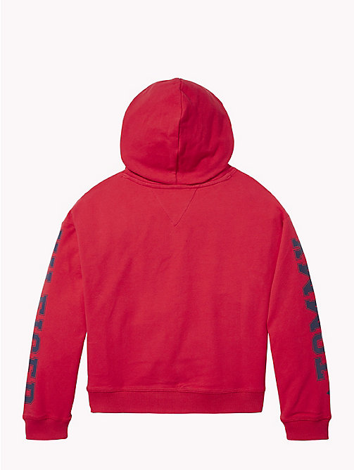 TOMMY HILFIGER Logo Sleeve Hoody - TRUE RED - TOMMY HILFIGER Girls - detail image 1