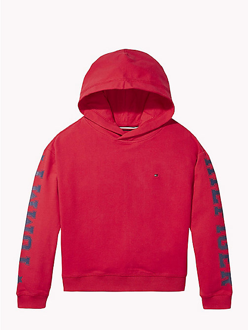 TOMMY HILFIGER Logo Sleeve Hoody - TRUE RED - TOMMY HILFIGER Girls - main image
