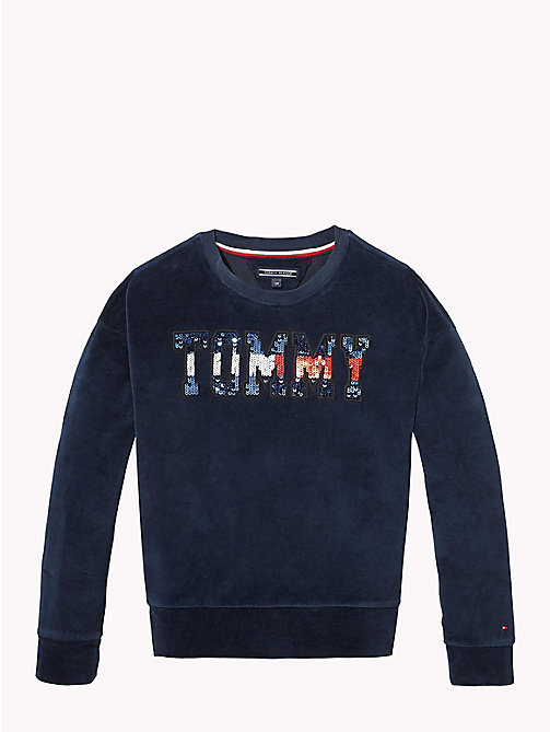 TOMMY HILFIGER Sequin Logo Velour Jumper - BLACK IRIS - TOMMY HILFIGER Sweatshirts & Hoodies - main image