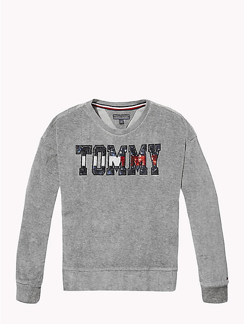 TOMMY HILFIGER Sequin Logo Velour Jumper - GREY HEATHER - TOMMY HILFIGER Girls - main image