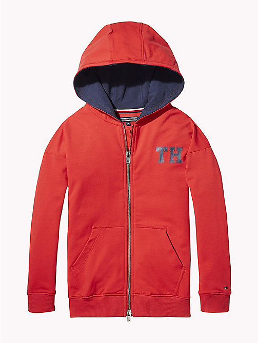 TOMMY HILFIGER Monogram Hoody - TRUE RED - TOMMY HILFIGER Girls - main image