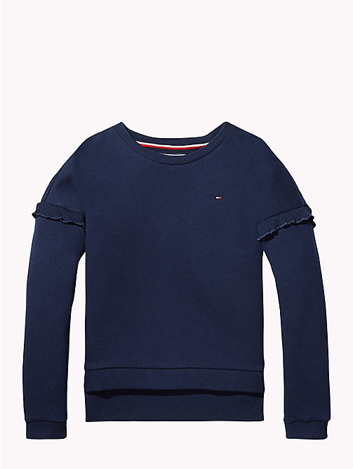 TOMMY HILFIGER Ruffle Sleeve Sweatshirt - BLACK IRIS - TOMMY HILFIGER Girls - main image