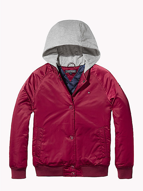 TOMMY HILFIGER Rib Knit Hooded Bomber - RUMBA RED - TOMMY HILFIGER Coats & Jackets - main image