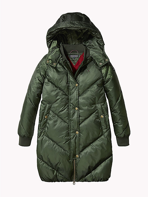 TOMMY HILFIGER Chevron Stitch Long Coat - KOMBU GREEN - TOMMY HILFIGER Girls - detail image 1