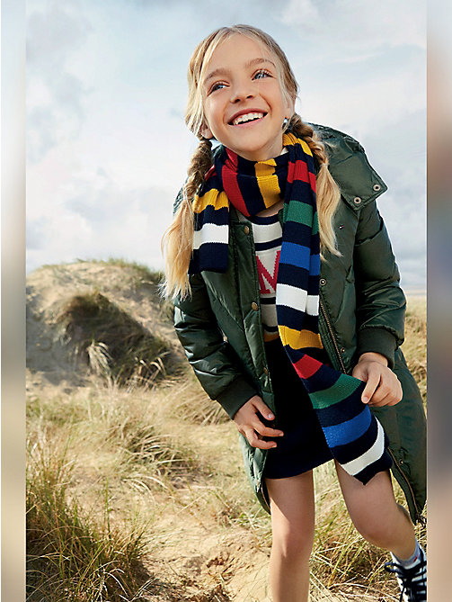 TOMMY HILFIGER Chevron Stitch Long Coat - KOMBU GREEN -  Coats & Jackets - main image