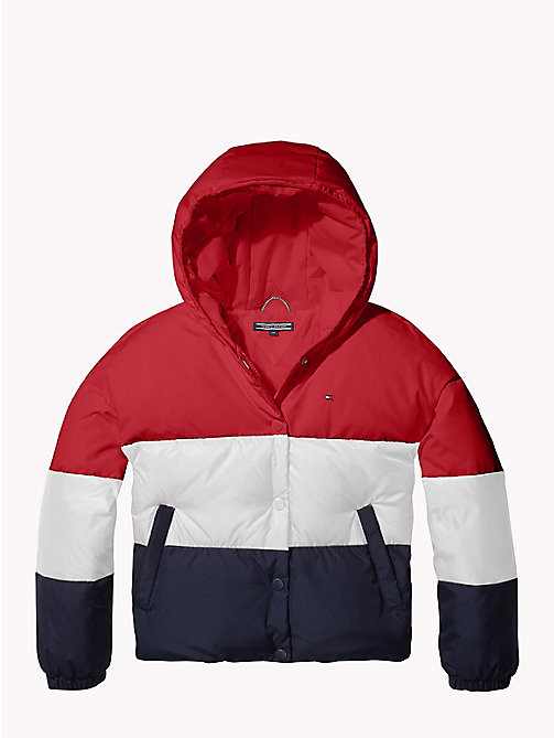 TOMMY HILFIGER Colour-Blocked Puffer Jacket - SNOW WHITE/TRUE RED/BLACK IRIS - TOMMY HILFIGER Girls - main image
