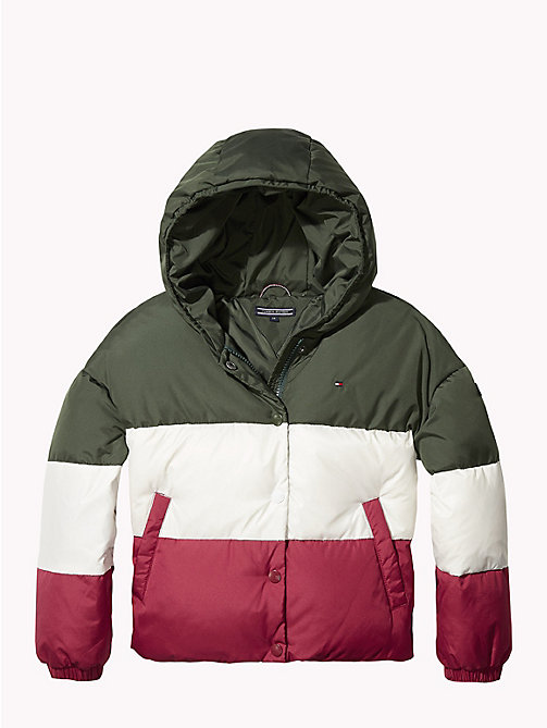 TOMMY HILFIGER Colour-Blocked Puffer Jacket - KOMBU GREEN/SNOW WHITE/RUMBA RED -  Coats & Jackets - detail image 1