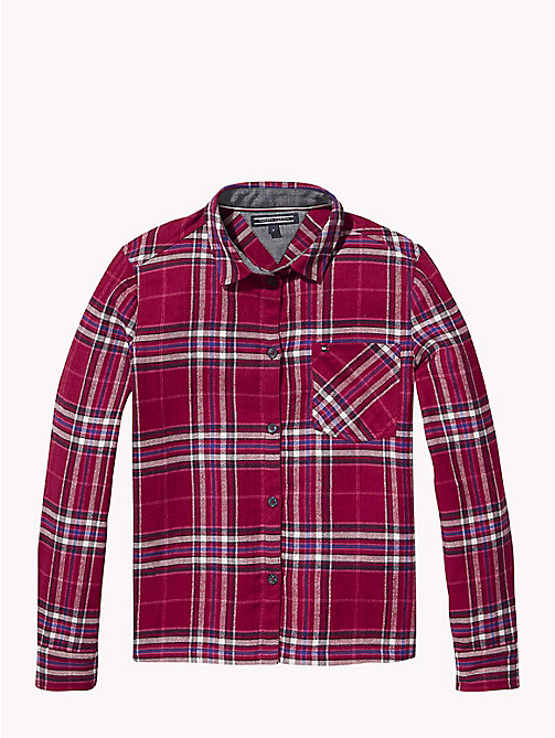 TOMMY HILFIGER Check Print Cotton Shirt - RUMBA RED / MULTI - TOMMY HILFIGER Tops & T-shirts - main image