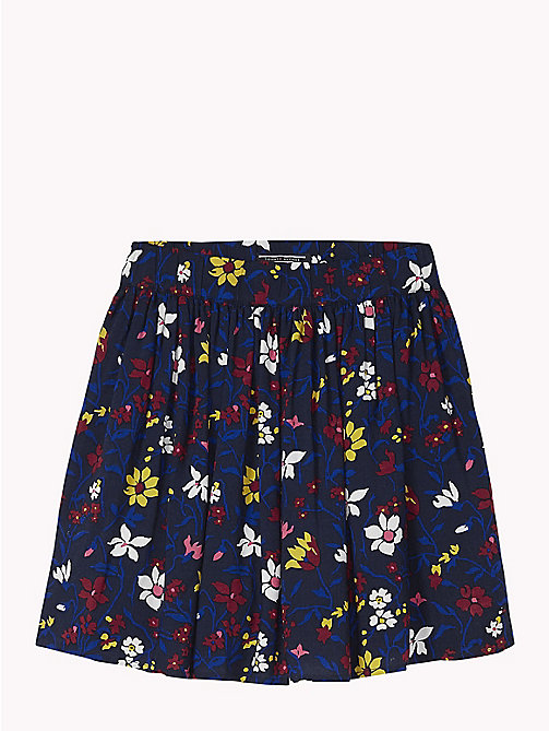 TOMMY HILFIGER Floral Print Mini Skirt - BLACK IRIS MULTI - TOMMY HILFIGER Trousers, Shorts & Skirts - main image