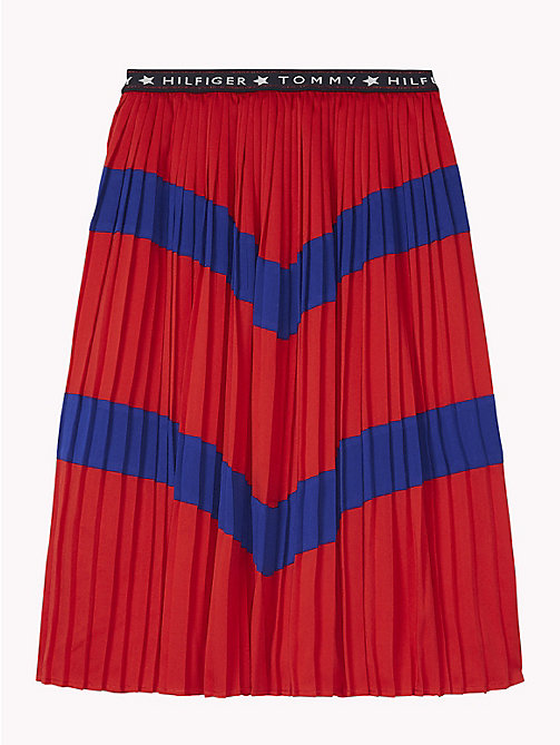 TOMMY HILFIGER Pleated Colour-Blocked Skirt - TRUE RED/MAZARINE BLUE - TOMMY HILFIGER Trousers, Shorts & Skirts - detail image 1
