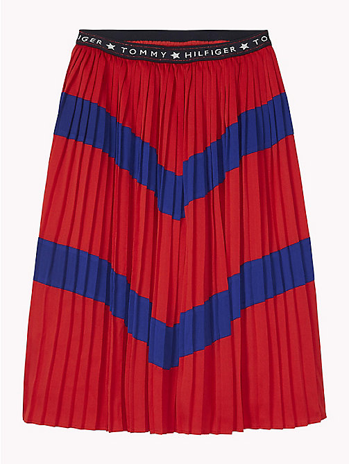 TOMMY HILFIGER Pleated Colour-Blocked Skirt - TRUE RED/MAZARINE BLUE - TOMMY HILFIGER Trousers, Shorts & Skirts - main image