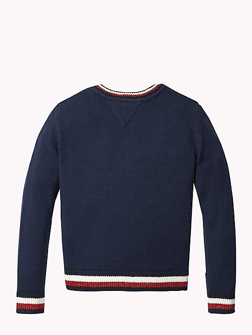 TOMMY HILFIGER Signature Tape Crew Neck Jumper - BLACK IRIS - TOMMY HILFIGER Knitwear - detail image 1