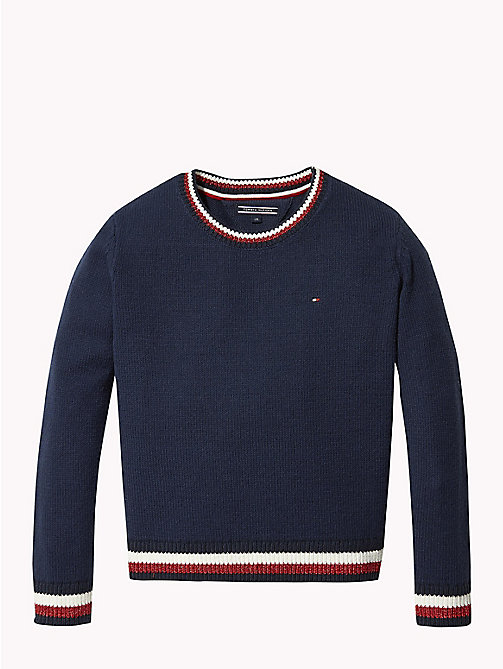 TOMMY HILFIGER Signature Tape Crew Neck Jumper - BLACK IRIS - TOMMY HILFIGER Knitwear - main image