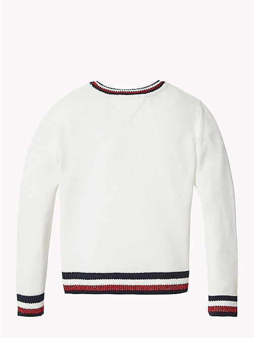 TOMMY HILFIGER Signature Tape Crew Neck Jumper - SNOW WHITE - TOMMY HILFIGER Knitwear - detail image 1