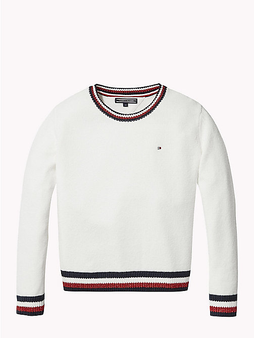 TOMMY HILFIGER Signature Tape Crew Neck Jumper - SNOW WHITE - TOMMY HILFIGER Knitwear - main image
