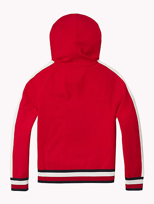 TOMMY HILFIGER Kids' Stripe Hoody - TRUE RED - TOMMY HILFIGER Knitwear - detail image 1