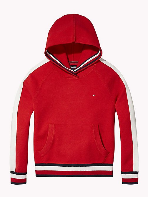 TOMMY HILFIGER Kids' Stripe Hoody - TRUE RED - TOMMY HILFIGER Knitwear - main image