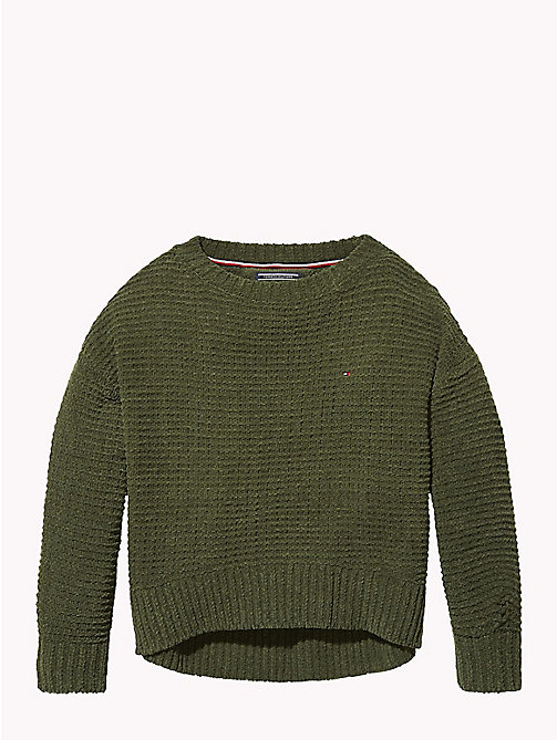 TOMMY HILFIGER Chunky Knit Oversized Jumper - KOMBU GREEN - TOMMY HILFIGER Girls - main image