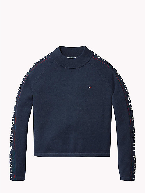 TOMMY HILFIGER Woven Logo Jumper - BLACK IRIS - TOMMY HILFIGER Girls - main image