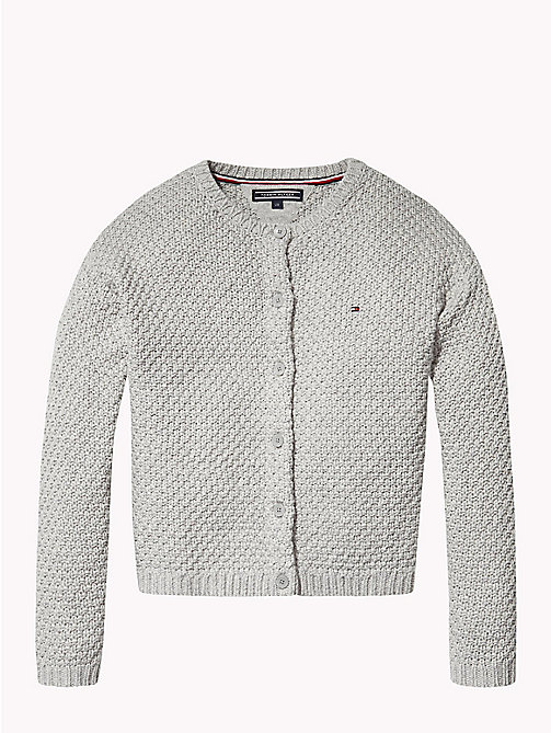 TOMMY HILFIGER Fluffy Sparkle Cardigan - GREY HEATHER - TOMMY HILFIGER Knitwear - main image